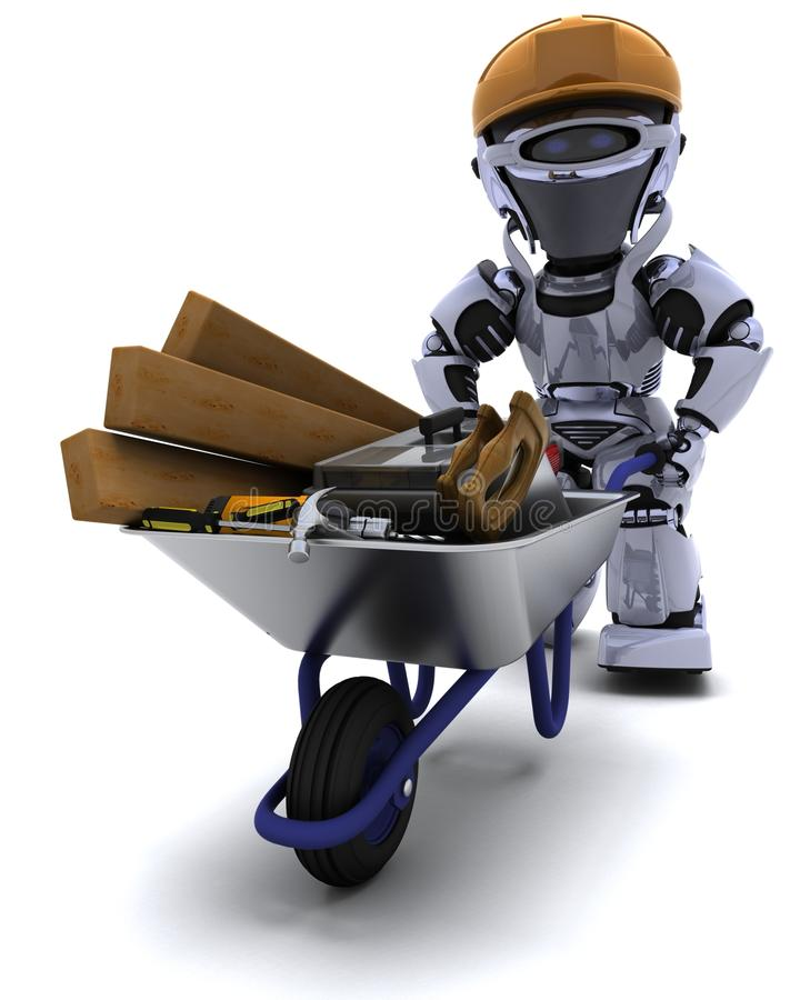 Free Robot Builder With A Wheel Barrow Carrying Tools Stock Images - 19487564