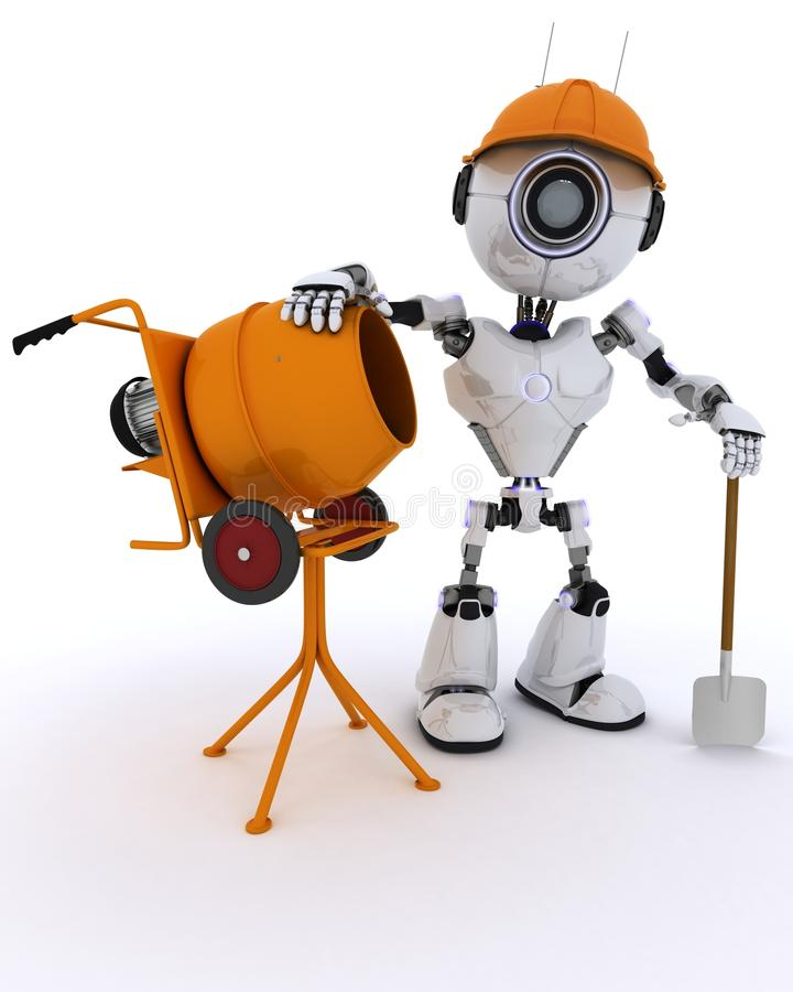 Free Robot Builder With Cement Mixer Stock Photo - 61584010