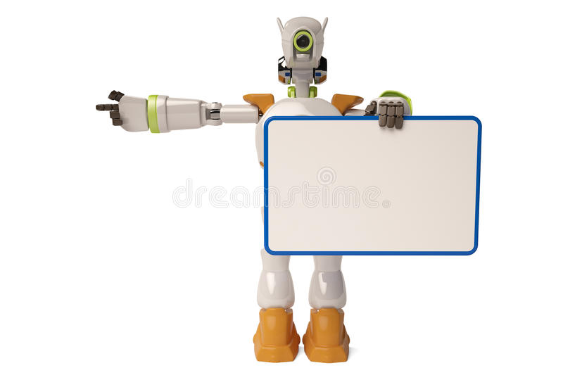 Robot and Bulletin Board,3D illustration. Robot and Bulletin Board 3D illustration royalty free illustration