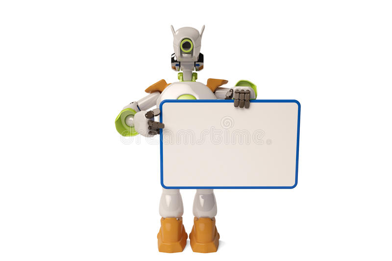 Robot and Bulletin Board,3D illustration. Robot and Bulletin Board 3D illustration vector illustration