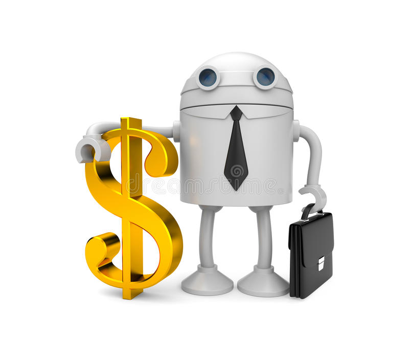 Robot businessman with gold dollar stock illustration