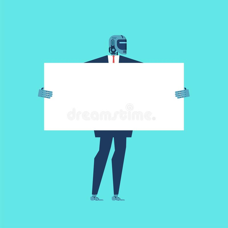 Robot Businessman holding white banner. Cyborg keep clean sheet. vector illustration