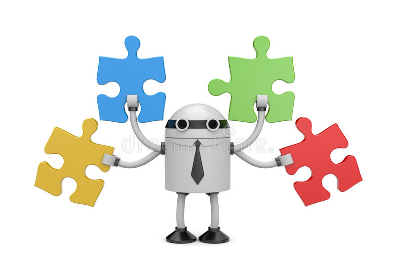 Robot businessman with puzzle stock illustration