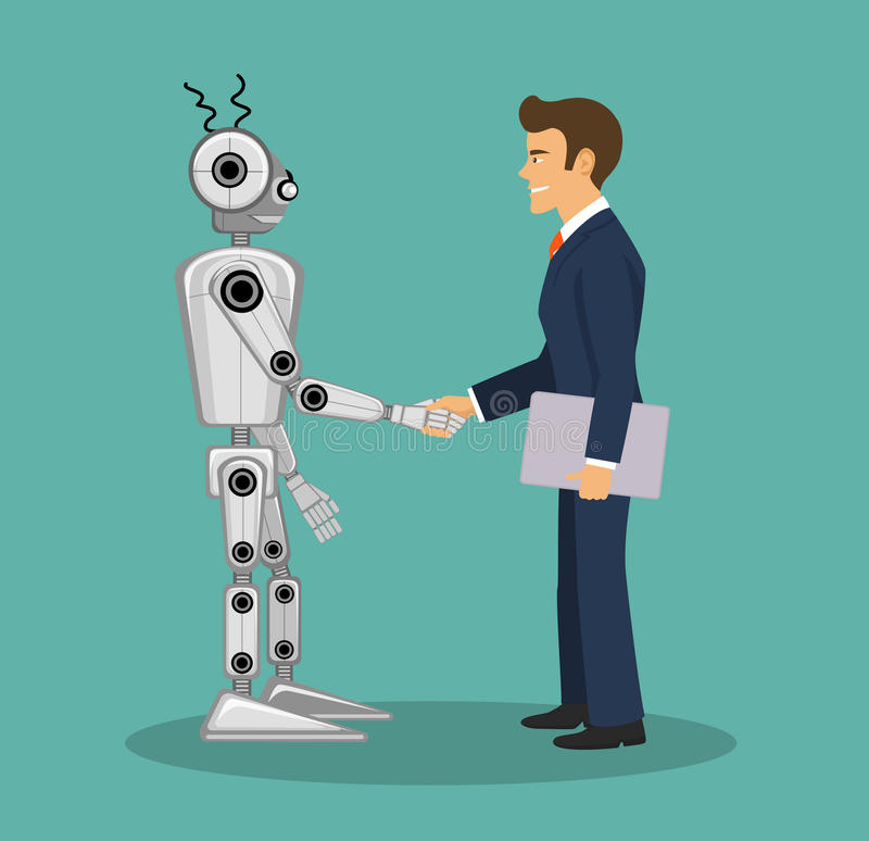 Robot and businessman shaking hands . Human and artificial intelligence agreement royalty free illustration