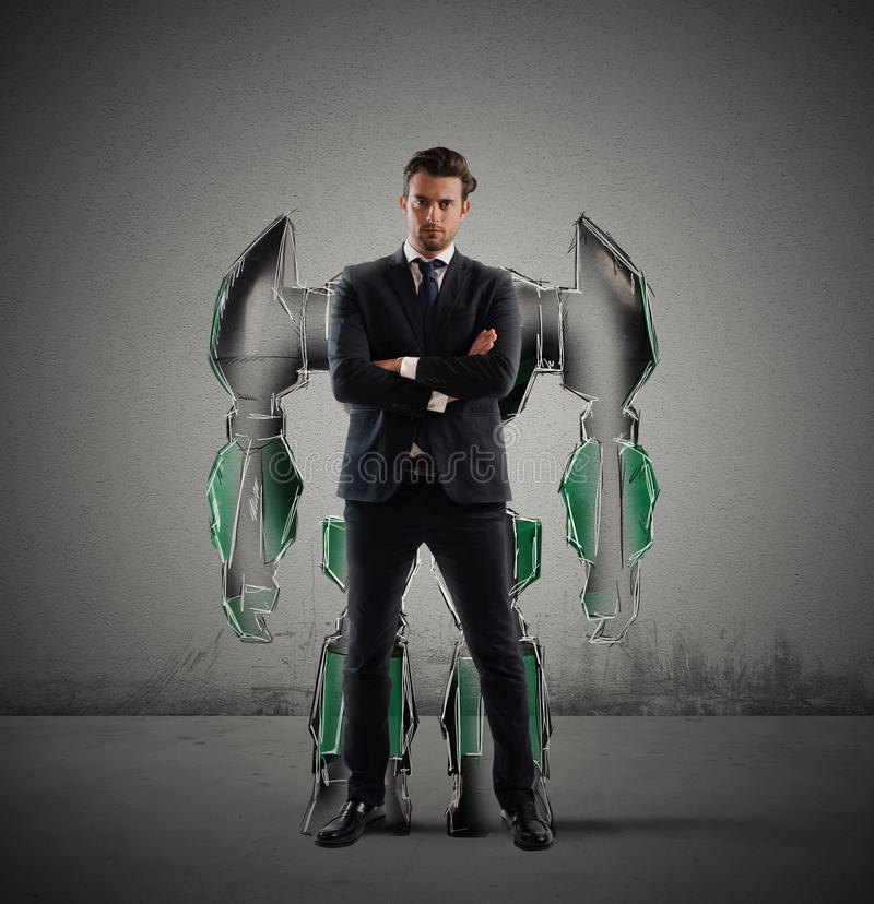 Robot businessman. Businessman with a silhouette of a robot stock images