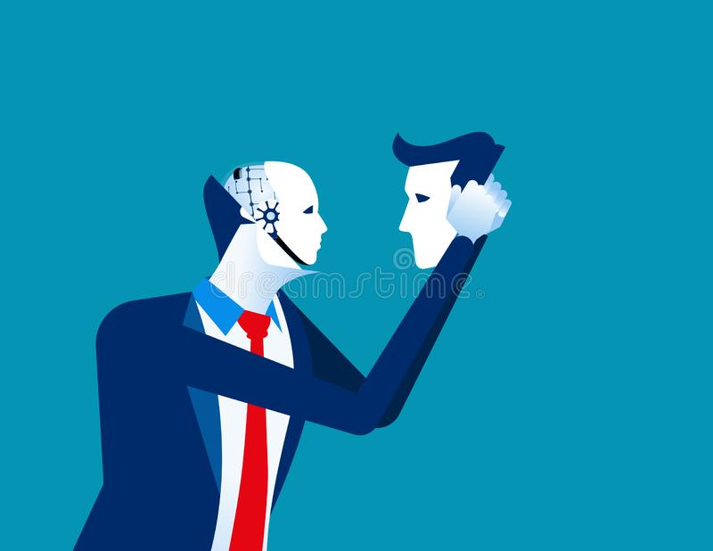 Robot in businessmen head. Concept business technology vector illustration. Flat business character design stock illustration