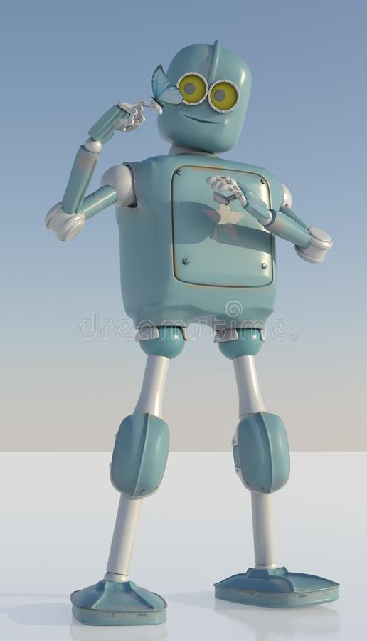 Robot and butterfly on hand a blue background. retro toy and nat royalty free illustration