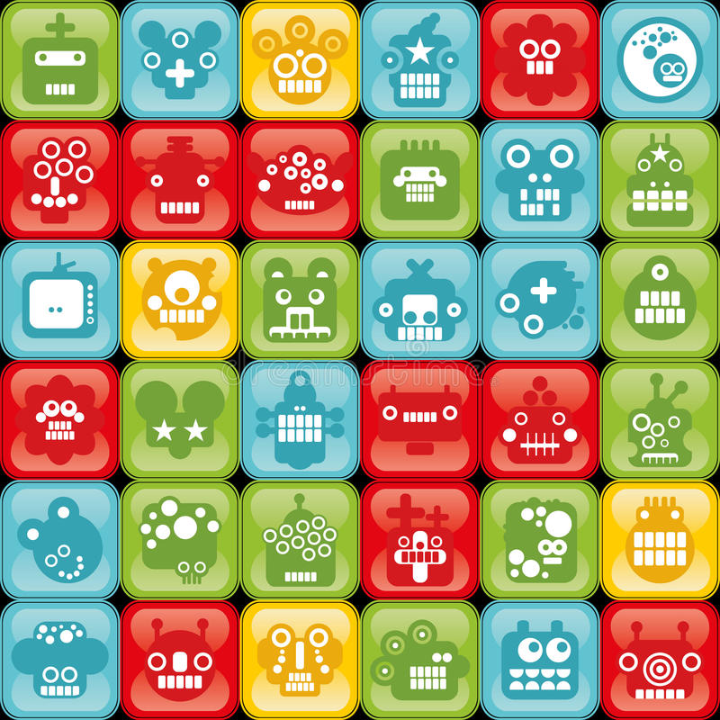 Download Robot On Buttons Seamless Background. Stock Vector - Illustration: 32928170