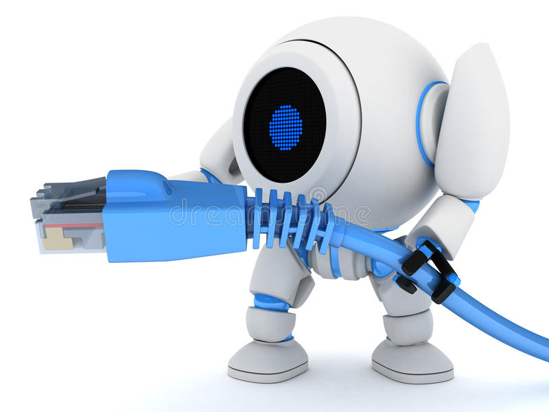 Robot And Cable Net Royalty Free Stock Photo