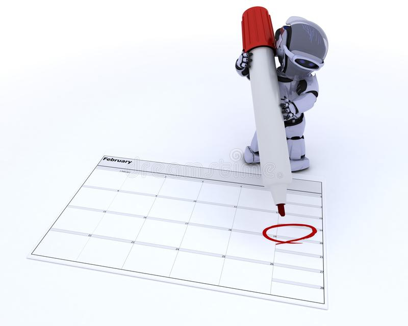Robot With A Calender Stock Images