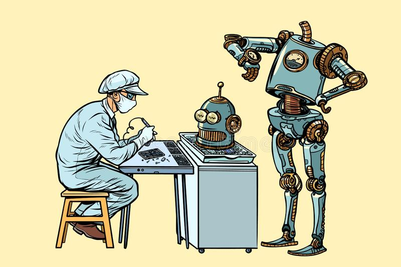 The robot came to repair the head. Electronics engineer speciali. St. Pop art retro vector illustration kitsch vintage vector illustration