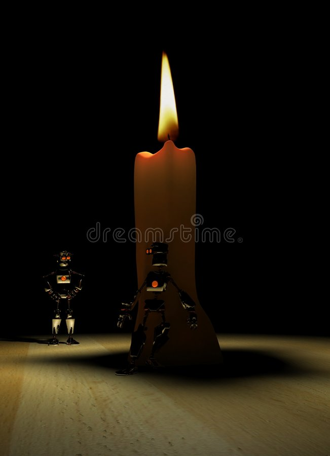 Robot And Candle Stock Images