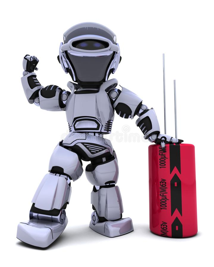 Download Robot with a capacitor stock illustration. Illustration of digital - 18292275