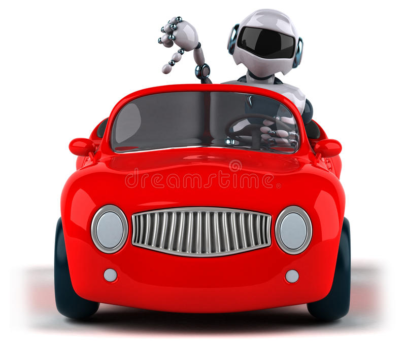 Robot and car royalty free illustration