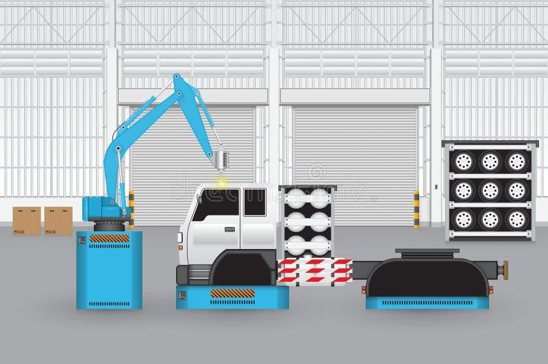 Robot_car_factory vektor abbildung