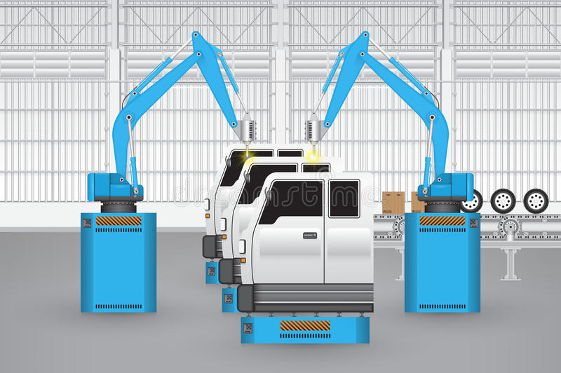 Robot_car_factory stock illustrationer