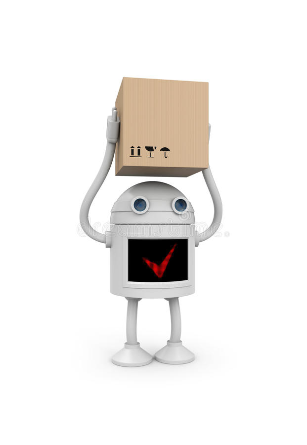 Robot with cardboard box vector illustration