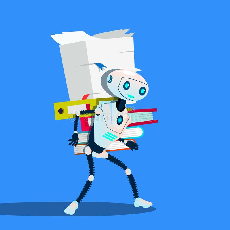 Robot Is Carrying Stack Of Office Folders Vector. Isolated Illustration royalty free illustration