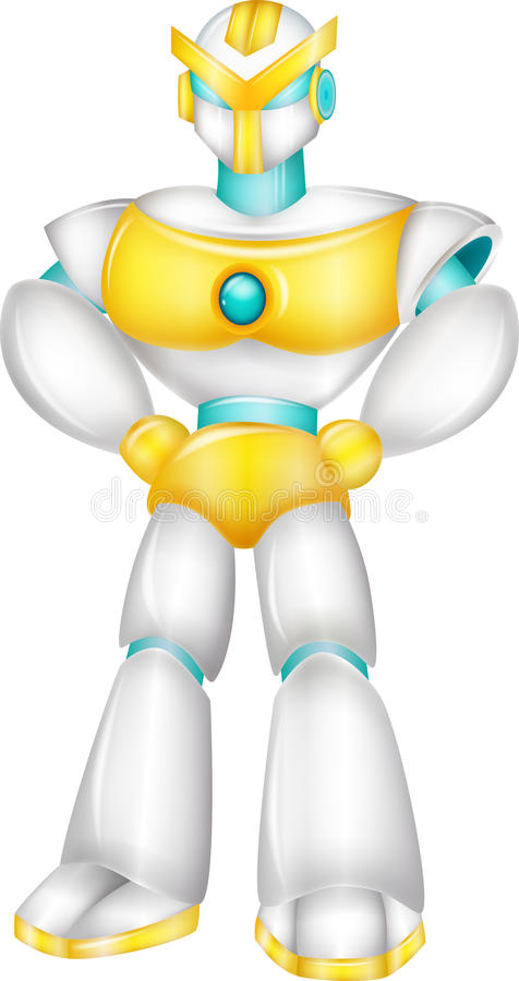 Robot cartoon posing stock illustration