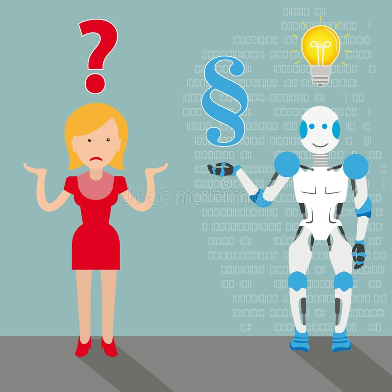 Woman Robot Cartoon Question Paragraph Answer Bulb royalty free illustration