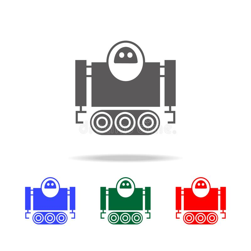 robot on caterpillar icons. Elements of robots in multi colored icons. Premium quality graphic design icon. Simple icon for websit stock illustration