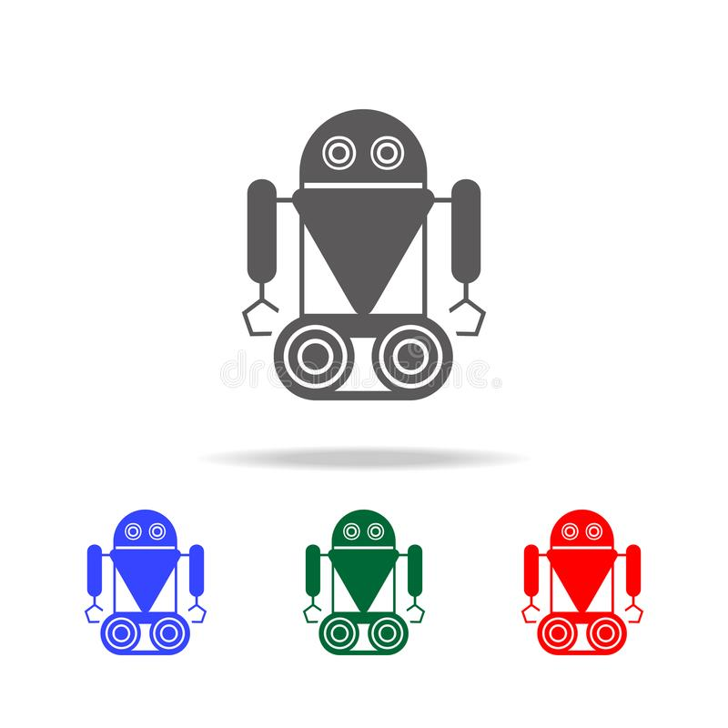 robot on caterpillar icons. Elements of robots in multi colored icons. Premium quality graphic design icon. Simple icon for websit vector illustration