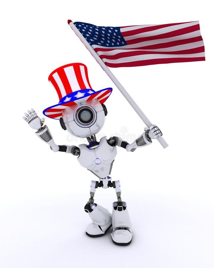Robot celebrating 4th july. 3D Render of a Robot celebrating 4th july stock illustration