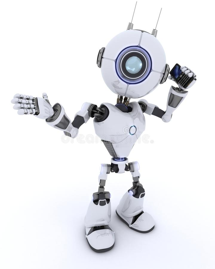 Robot with cell phone stock illustration