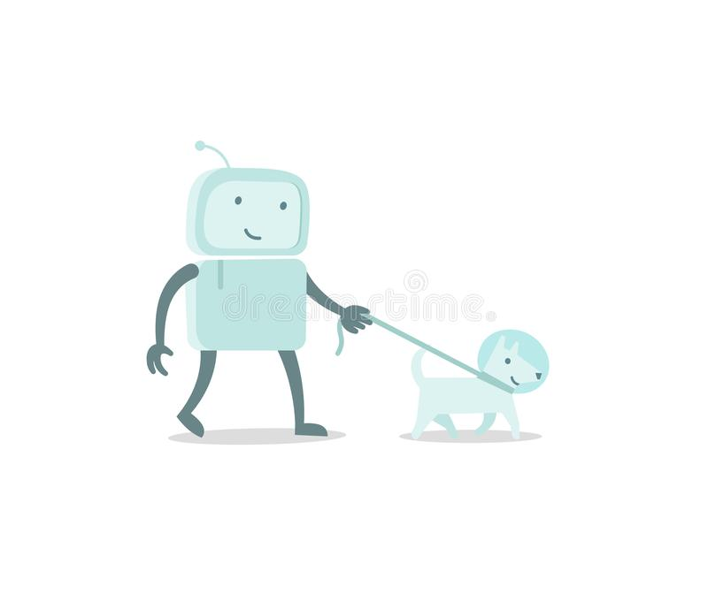 Robot character astronaut man walk with dog on a leash. Flat color vector illustration vector illustration