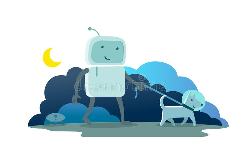 Robot character astronaut man walk night moon evening with dog on a leash. Dog runs ahead. Flat color vector stock illustration