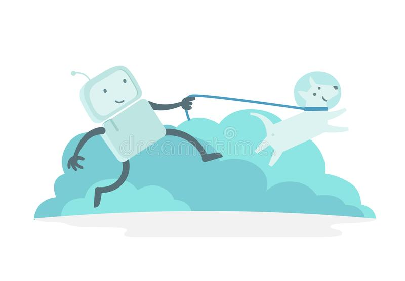 Robot character astronaut man walk runs with dog on a leash. Dog runs ahead. Flat color vector illustration royalty free illustration