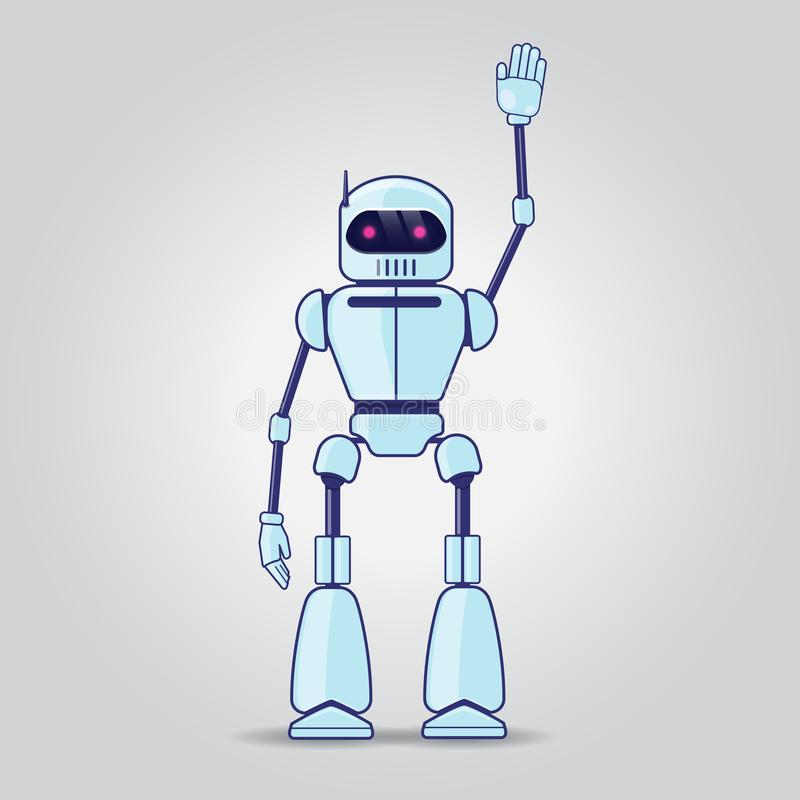 Robot character on gray background vector illustration