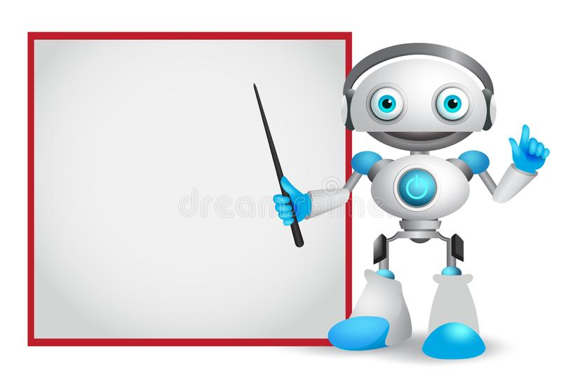 Robot character vector illustration with friendly gesture teaching or showing technology royalty free illustration
