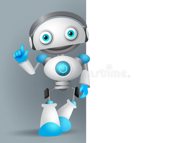 Robot character vector illustration standing while explaining information. In a empty blank board for text in a technology design presentation stock illustration