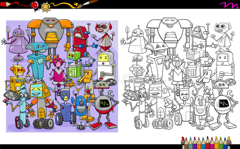Robot characters coloring page stock illustration