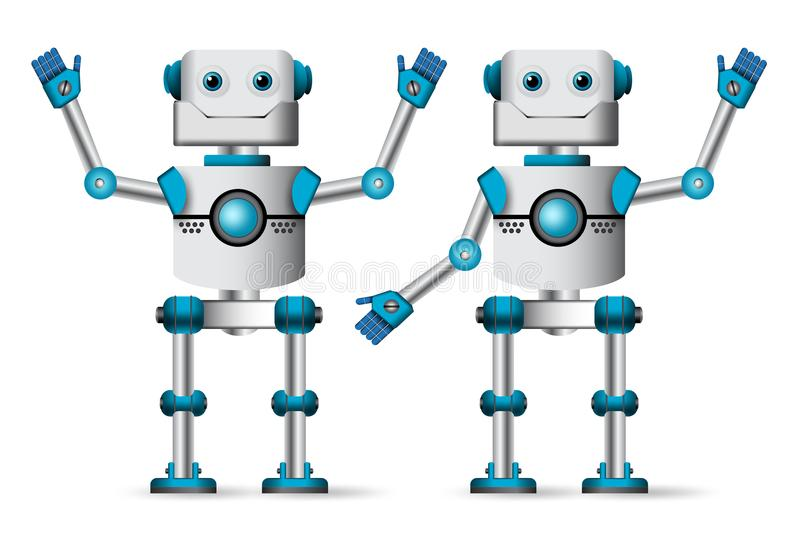 Robot characters set. White cyborg mascot standing with waiving hand gestures. For technology related design presentation element. Vector illustration stock illustration