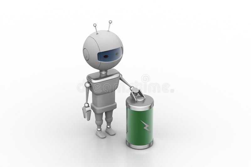 Robot with chargeable battery. In white background stock illustration