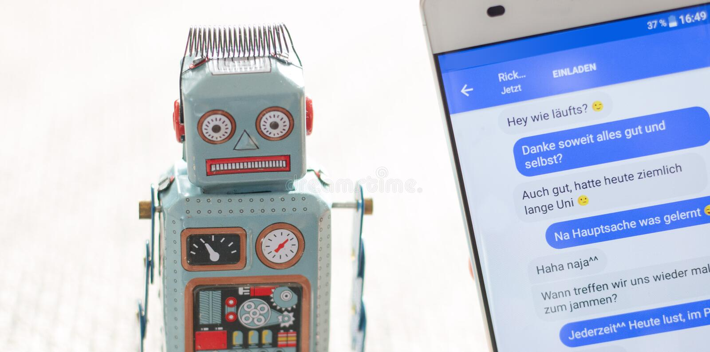 Symbol for chat bot, smartphone and messenger. Robot chatbot messenger surveillance social algorithm artificial code intelligence ai data big communication stock images
