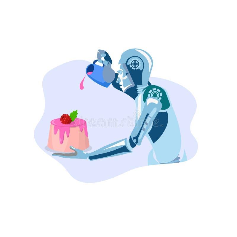 Robot che cucina l'illustrazione piana di vettore del dessert illustrazione vettoriale