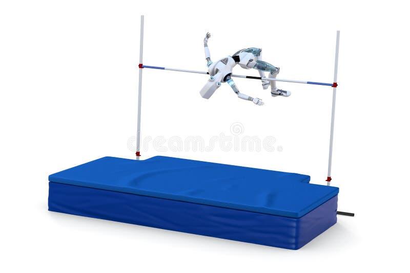 Robot che fa concorrenza nell'alto salto illustrazione vettoriale