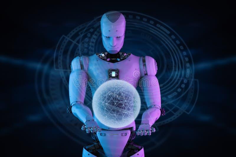 Robot che funziona con l'esposizione virtuale illustrazione vettoriale