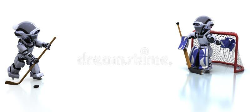 Robot che gioca icehockey illustrazione di stock
