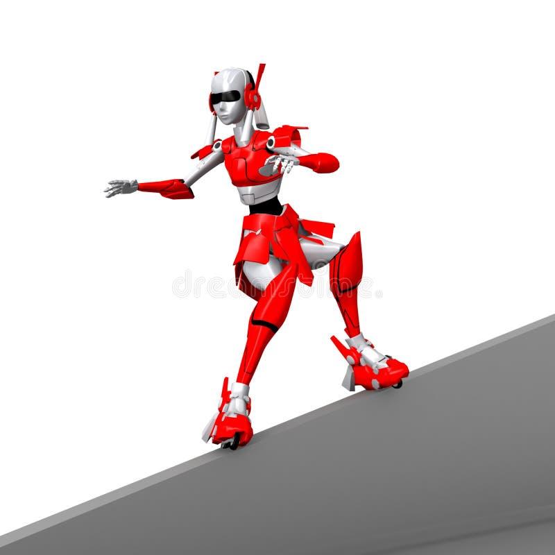 Robot che gioca rollerblade 4 illustrazione di stock