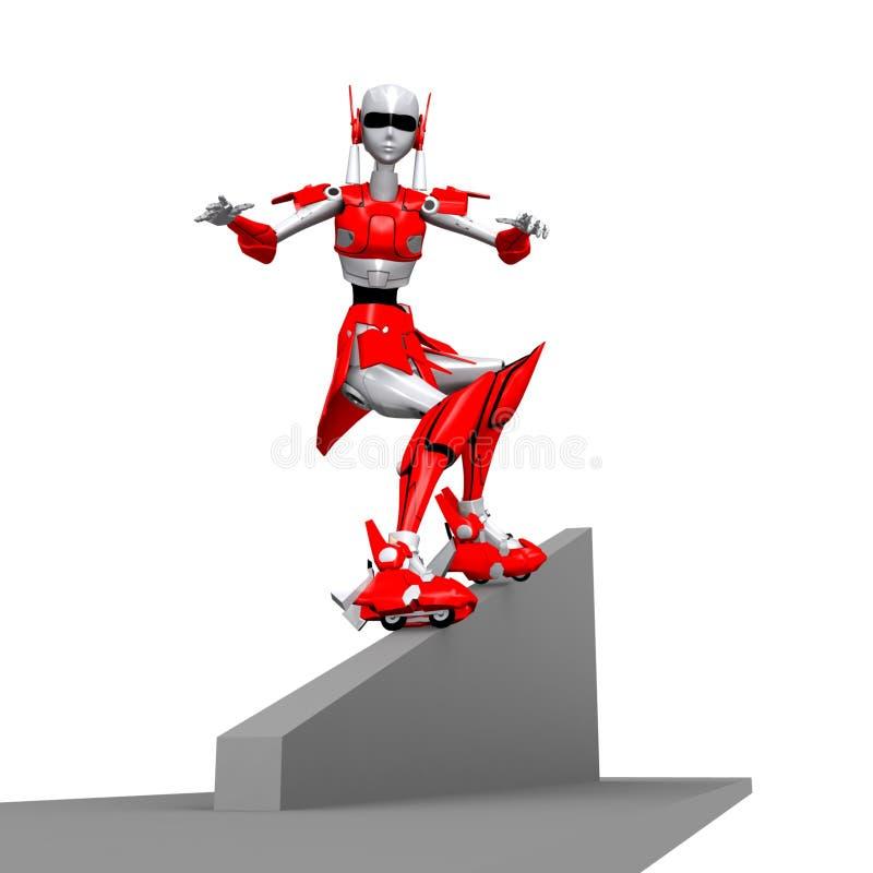 Robot che gioca rollerblade 5 illustrazione vettoriale