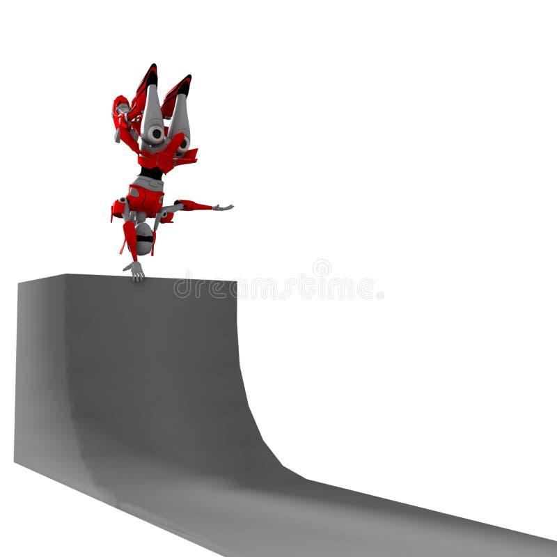 Robot che gioca rollerblade 8 illustrazione vettoriale
