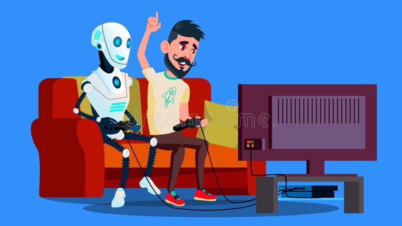 Robot che gioca video gioco con il vettore dell'amico Illustrazione isolata illustrazione vettoriale
