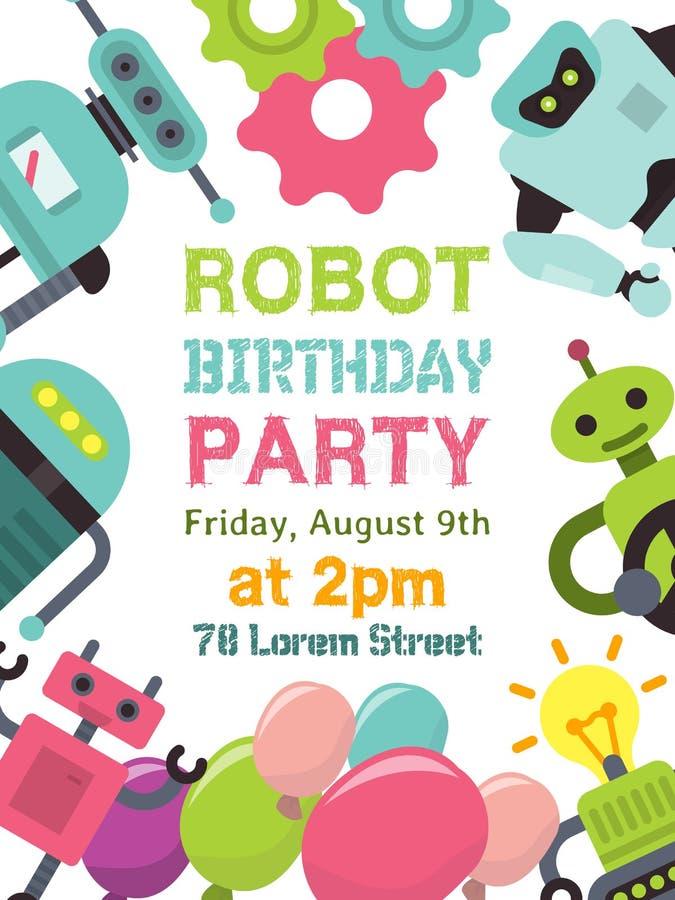 Robot che ondeggia, umanoidi robot per l'illustrazione di vettore del manifesto del partito del bambino Benvenuto del partito di  illustrazione di stock