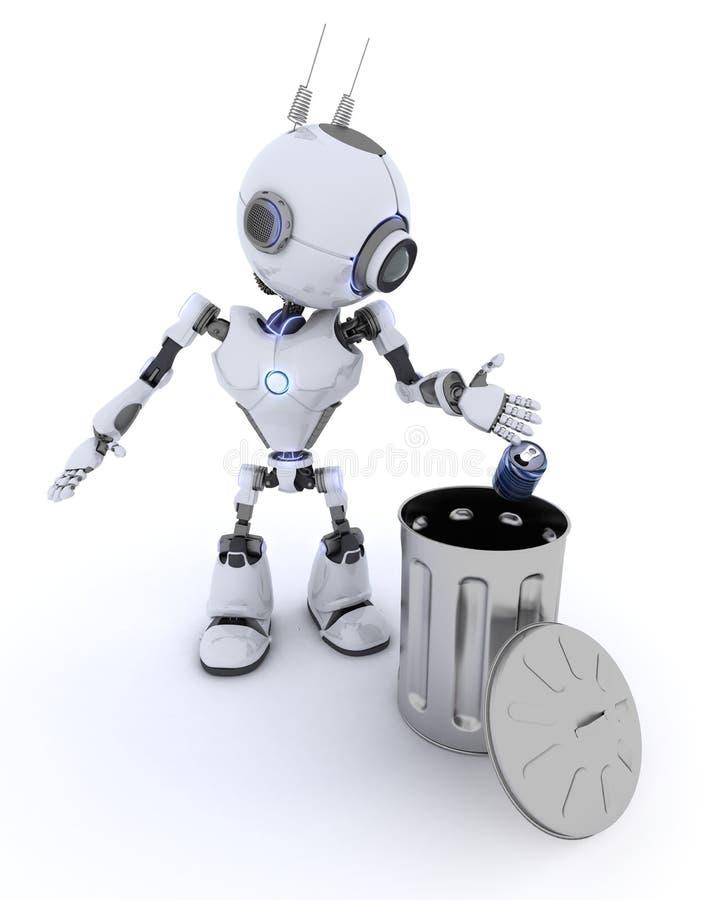 Robot che ricicla spreco illustrazione vettoriale
