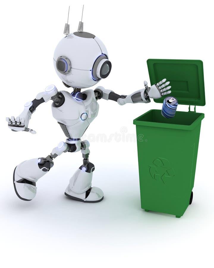 Robot che ricicla spreco royalty illustrazione gratis