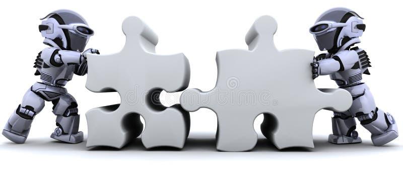 Robot che risolve puzzle di puzzle illustrazione di stock